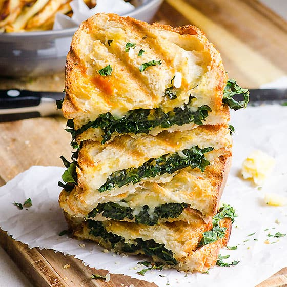 Kale, Grilled Garlic And Cheddar Panini Recipe — Dishmaps