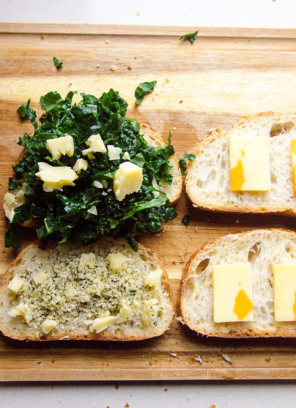 Parmesan Kale Grilled Cheese recipe means crunchy whole wheat outside and Parmesan cheesy inside with superfood kale and hemp seeds in between. Kids didn't mind. | ifoodreal.com