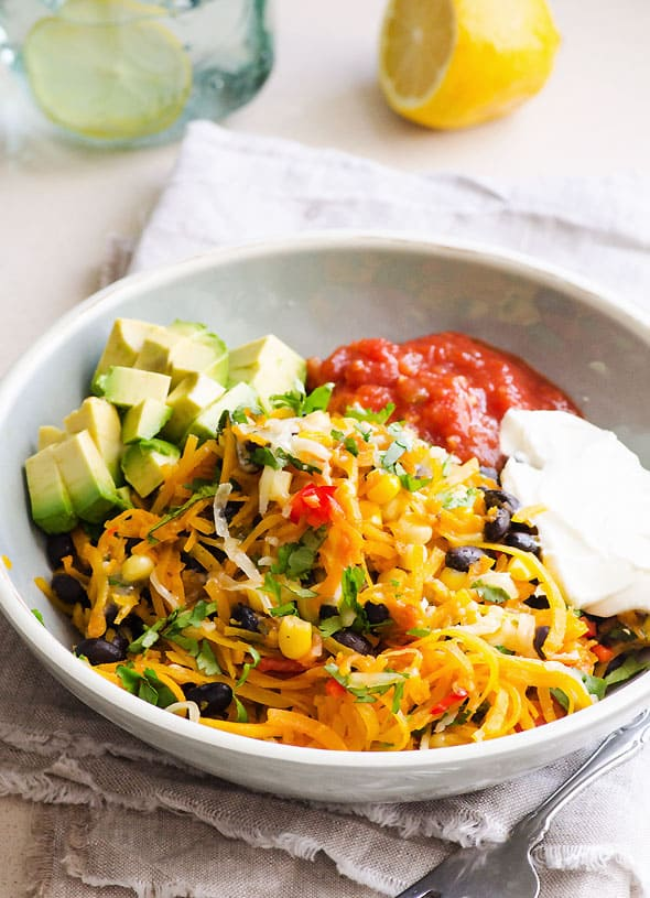 Butternut Squash Noodles Tex Mex Style in a bowl