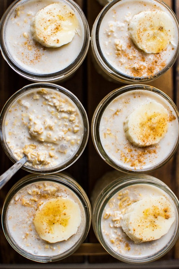 Overnight Oatmeal Recipe with any oats and milk, refrigerated overnight in a jar for up to 5 days for an easy healthy breakfast.