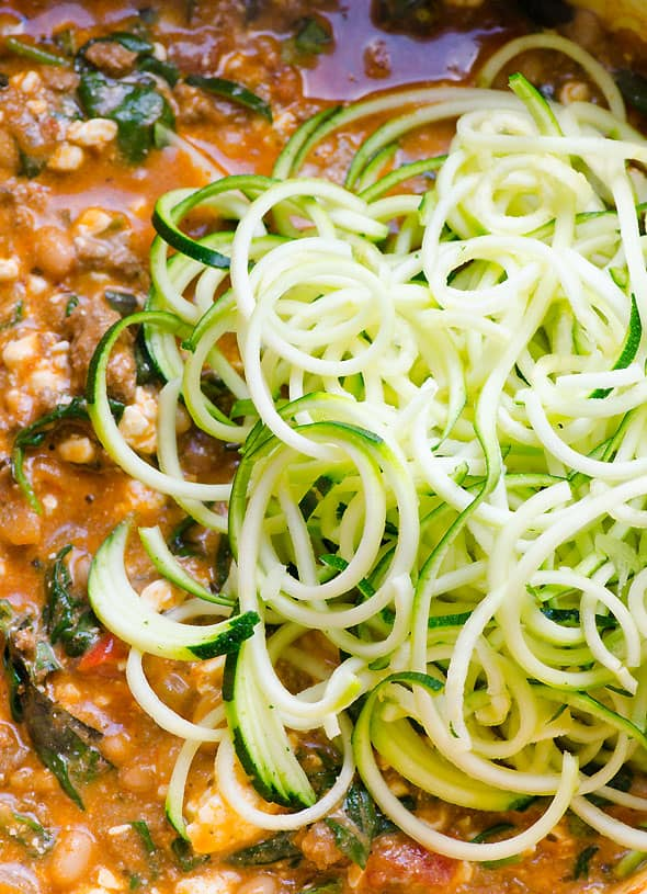 Stovetop Zucchini Noodles Lasagna is 30 minute clean eating light dinner with a taste of Italy without the guilt. Fast, gluten free & healthy comfort food recipe. | ifoodreal.com
