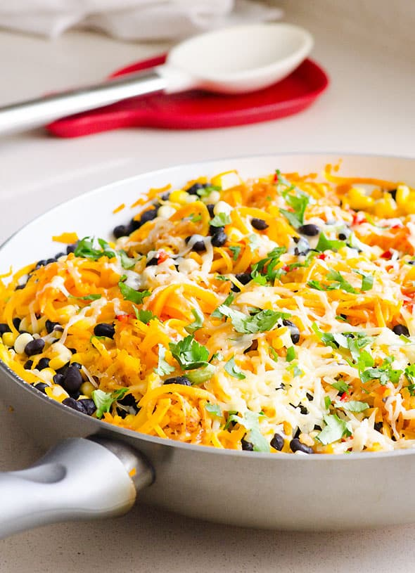 Butternut Squash Noodles Tex Mex Style is a 15 minute vegetarian recipe made with butternut squash spaghetti using a spiralizer, taco seasoning, salsa, corn and black beans. Kids will love mom's dinner. | ifoodreal.com