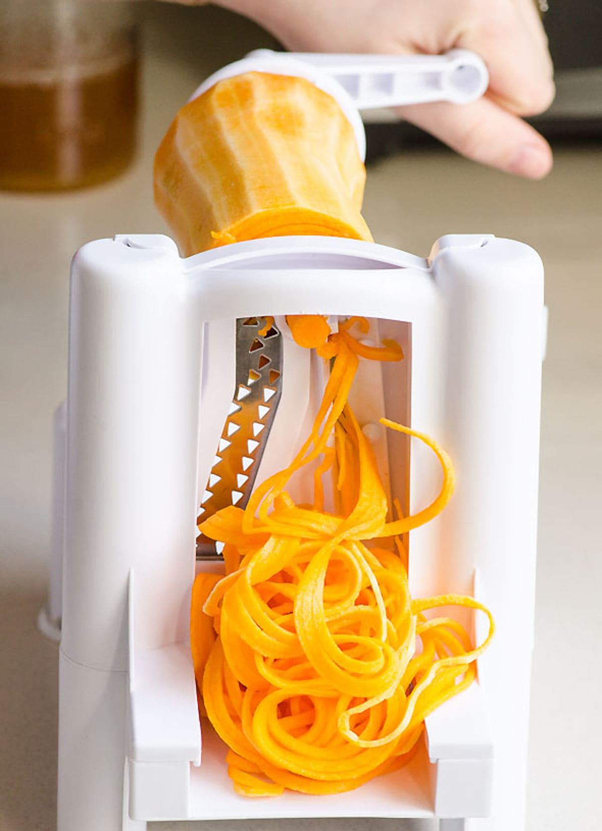 making butternut squash noodles in spiralizer