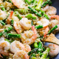 garlic butter shrimp quinoa asparagus