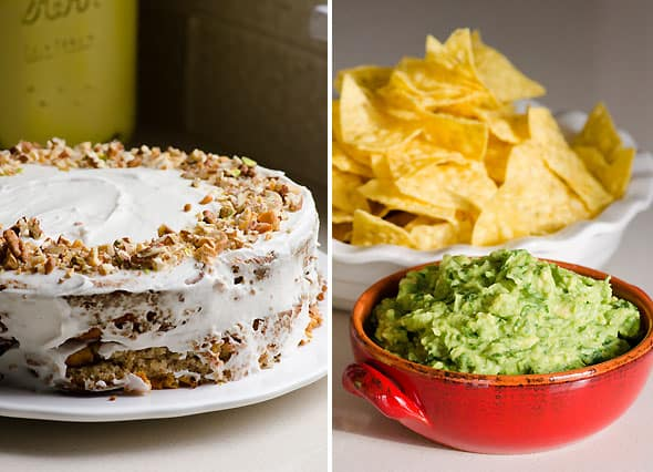 healthy almond cake; bowl of guacamole and tortilla chips