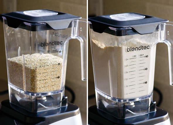 quinoa in blender; ground quinoa