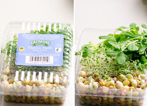 container of sprouts