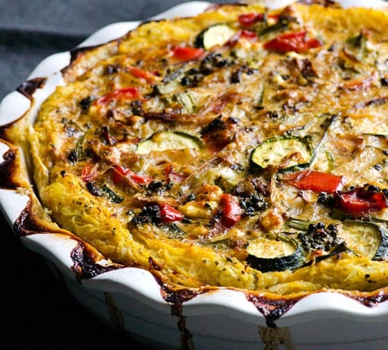 Spaghetti Squash Quiche with Vegetables