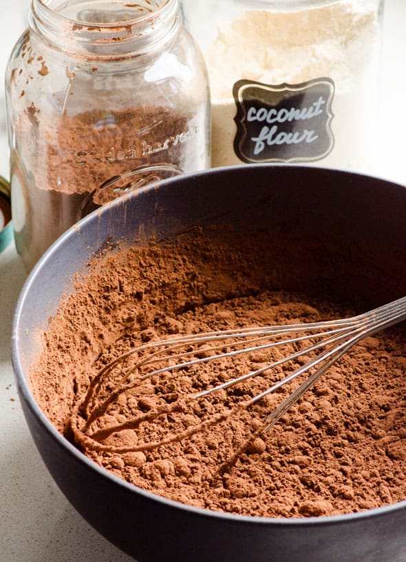 Coconut Flour and Cacao powder mixed in bowl