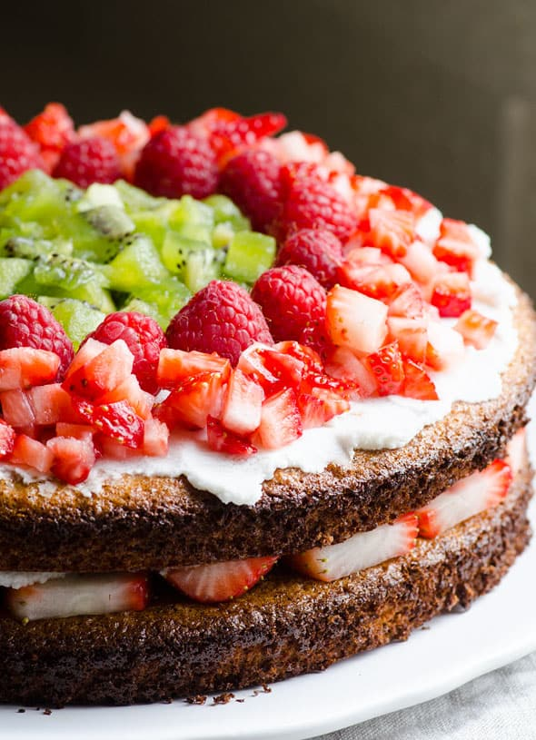 Healthy Almond Cake topped with berries and kiwi