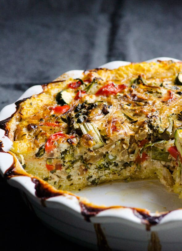 Spaghetti squash quiche that uses vegetables as a crust. Filled with balsamic veggies, 2 cheeses and eggs. | ifoodreal.com