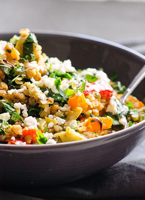 Buckwheat Stir Fry with Kale, Peppers & Artichokes