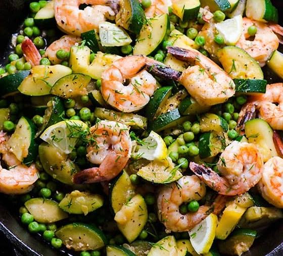 Lemon Dill Shrimp, Zucchini & Peas in 15 Minutes