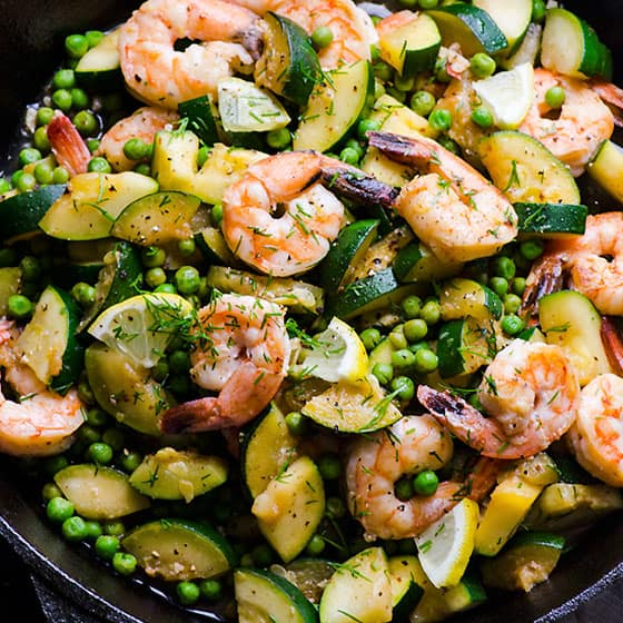 Lemon Dill Shrimp, Zucchini & Peas in 15 Minutes