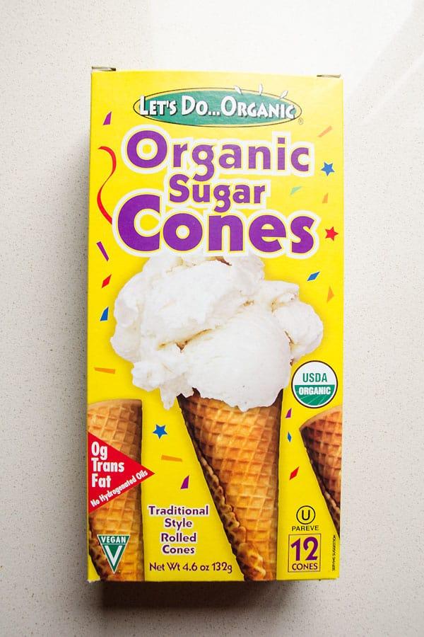 box of organic sugar ice cream cones