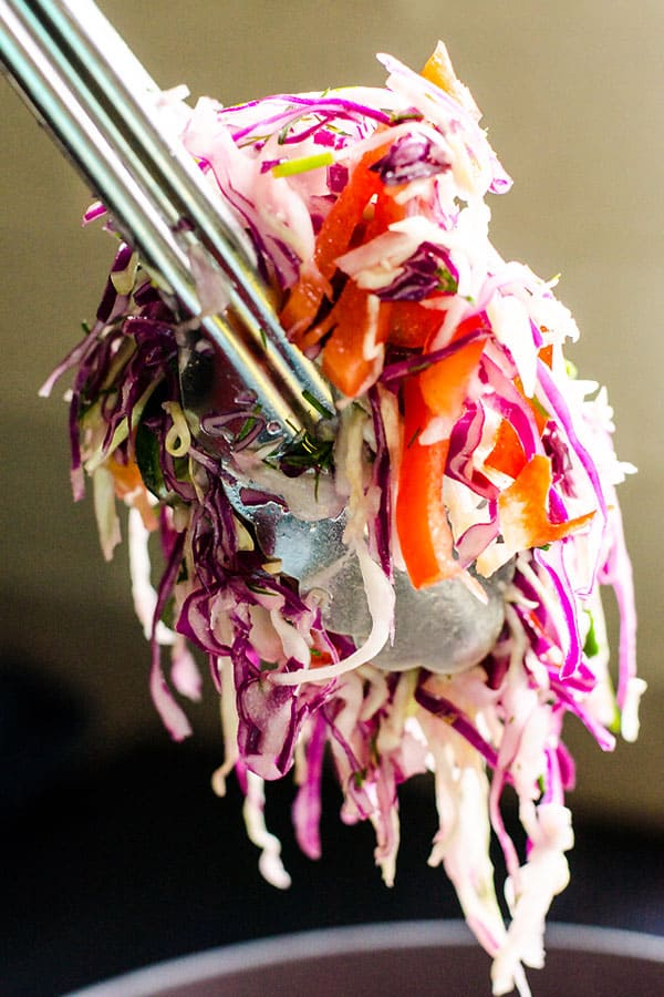 Ukrainian Dill Coleslaw Recipe with cucumbers, tomatoes, bell peppers, dill and vinegar like my mom makes healthy and easy, everyone will love. | ifoodreal.com