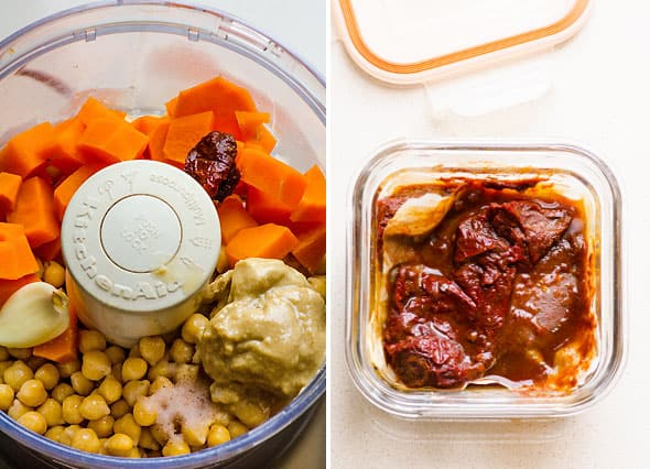 Sweet potato hummus  yams, chipotle in adobo and chickpeas in food processor.
