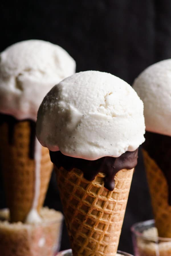 Vegan vanilla ice cream is easy healthy coconut ice cream recipe made with coconut milk, maple syrup and vanilla extract. | ifoodreal.com