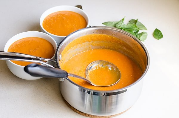 Creamy Sun Dried Tomato Soup - vegan tomato soup recipe with coconut milk. This dairy free healthy cream of tomato soup takes only 15 minutes. | ifoodreal.com