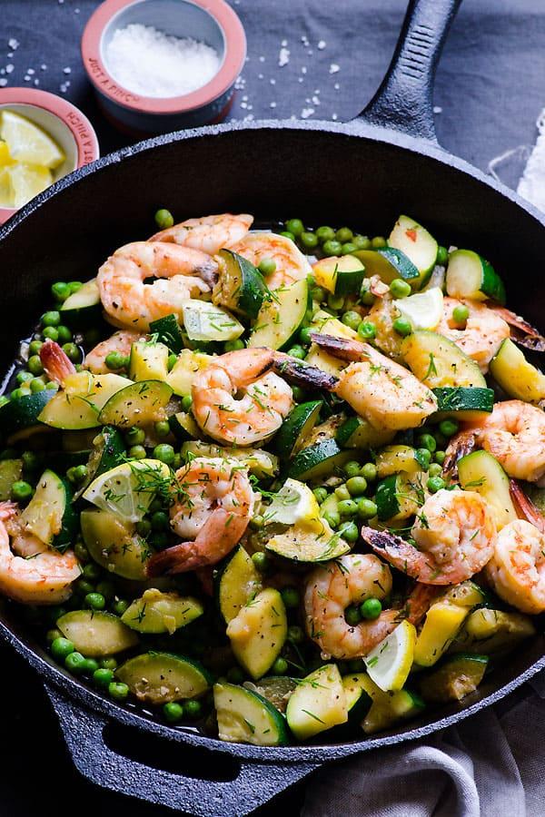 Lemon Dill Shrimp, Zucchini & Peas