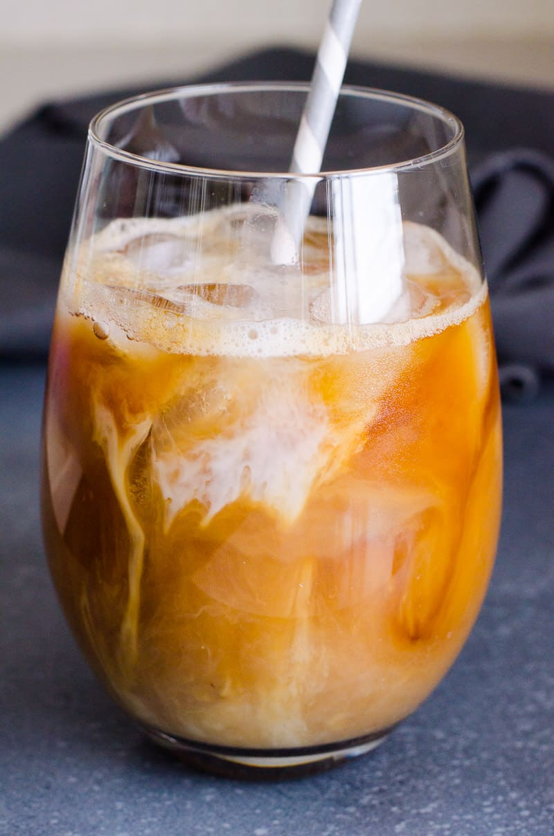 Healthy Iced Coffee Recipe with almond milk, sugar free, low calorie, and much cheaper and healthier than Starbucks.