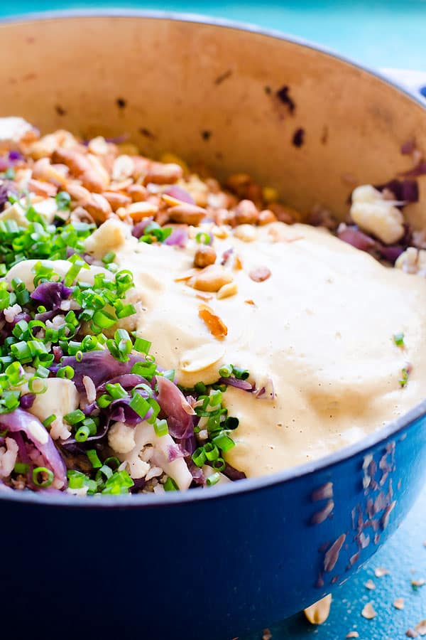 Peanut Butter Rice with Cruciferous Vegetables - Peanut rice with red cabbage, cauliflower, tofu and peanut butter sauce with ginger, garlic and mango. | ifoodreal.com
