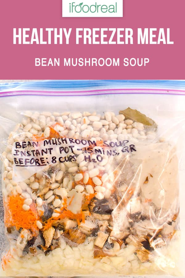 Hearty and Healthy Bean and Mushroom Soup Recipe on a stovetop, in slow cooker or Instant Pot. Instructions on how to turn into a freezer meal. It is a winner!