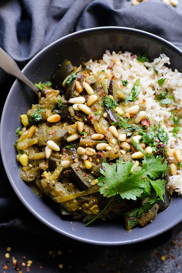 Eggplant Vindaloo is a healthy vegetable curry recipe with eggplants, coconut milk, mustard, vinegar, pine nuts or peanuts and cilantro.   ifoodreal.com