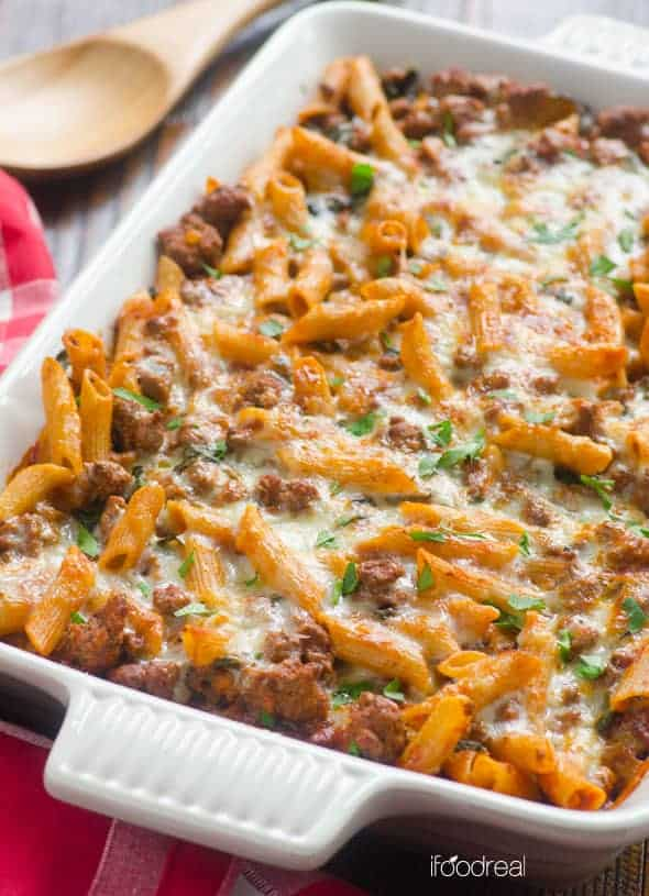 Turkey pasta bake in a dish.