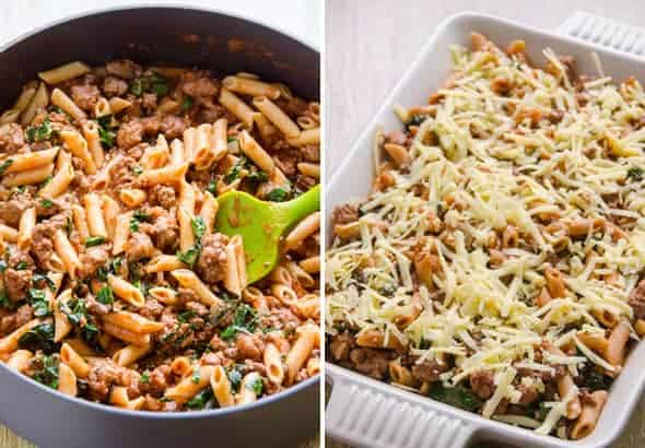 Pasta with meat sauce in a skillet and then in baking dish with cheese on top.