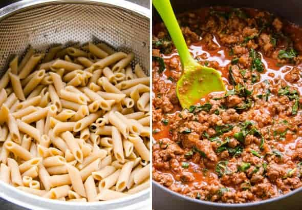Drained pasta and meat sauce in a skillet