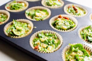 egg muffins in muffin tray; unbaked