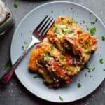 slow cooker mushroom roasted red pepper lasagna