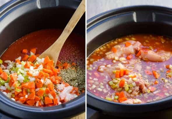 how to make Crockpot Chicken Spaghetti step by step