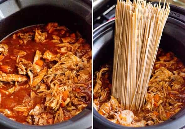 Easiest Crockpot Chicken Spaghetti Recipe is true 10 hour healthy slow cooker dinner with whole wheat pasta, tomato sauce and spices. Kids will love it!
