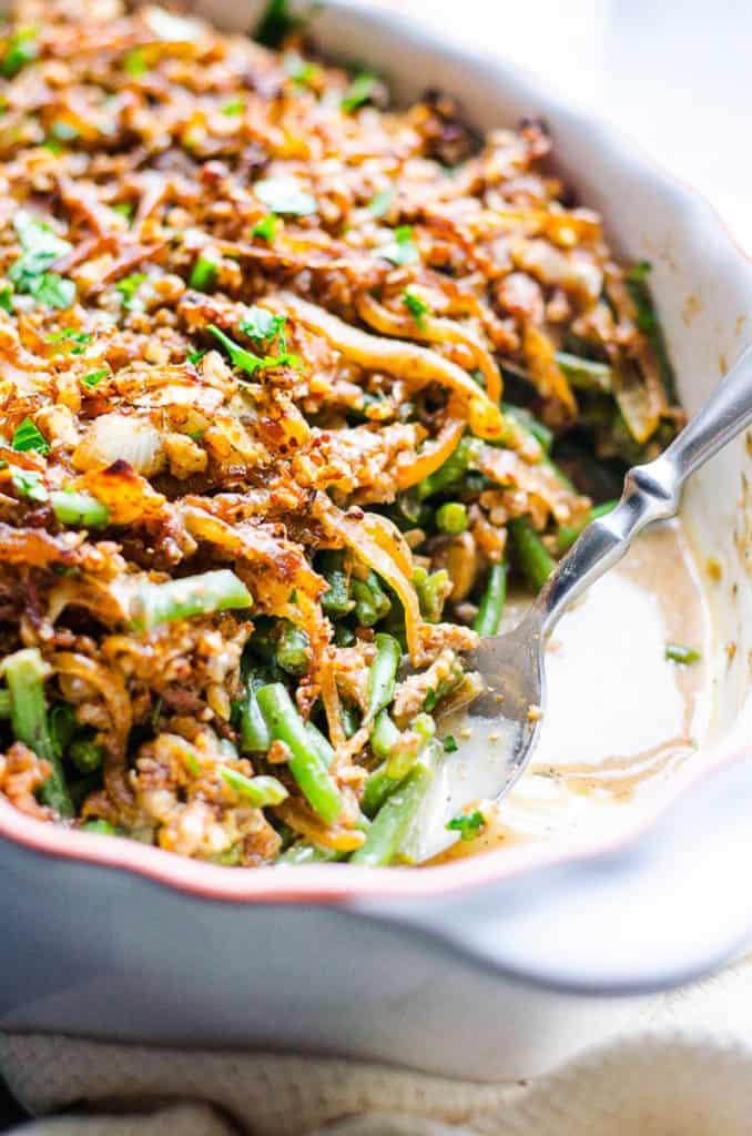 healthy green bean casserole in a white casserole dish