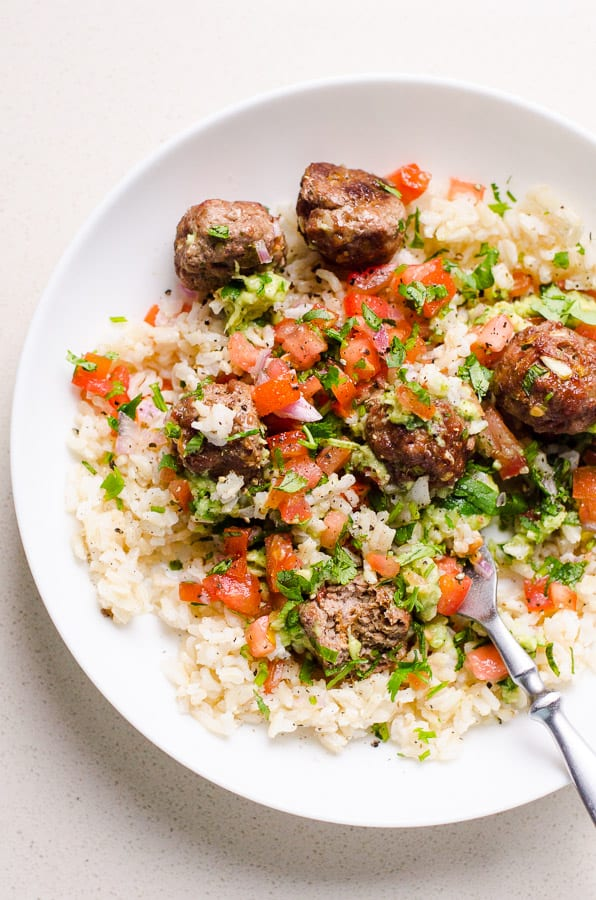 mexican meatballs with ground turkey on plate with rice