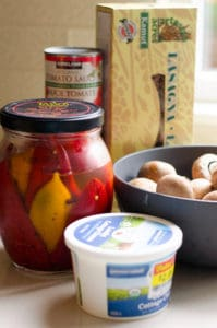 Ingredients for Slow Cooker Roasted Red Pepper Lasagna