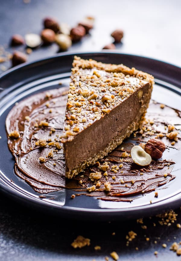 Slice of No Bake Nutella Pie on blue plate