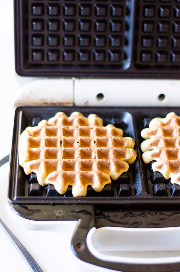 Oatmeal Protein Waffles Recipe with plant based protein powder, Greek yogurt, eggs, oats and no flour or added sugar. | ifoodreal.com