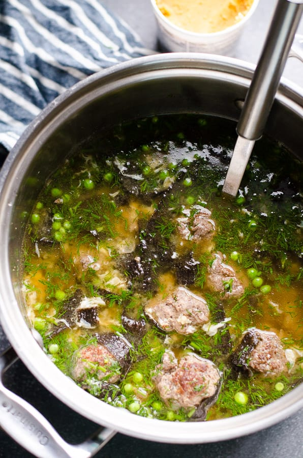Easy Miso Soup Recipe with meatballs, quinoa or rice, vegetables, miso paste and without dashi, full of flavour and probiotics.   ifoodreal.com
