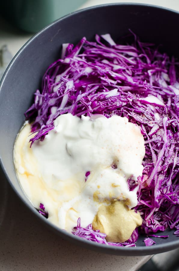 Easy Shrimp Tacos Recipe with red cabbage coleslaw and cajun shrimp, made healthy and simple in under 30 minutes. | ifoodreal.com