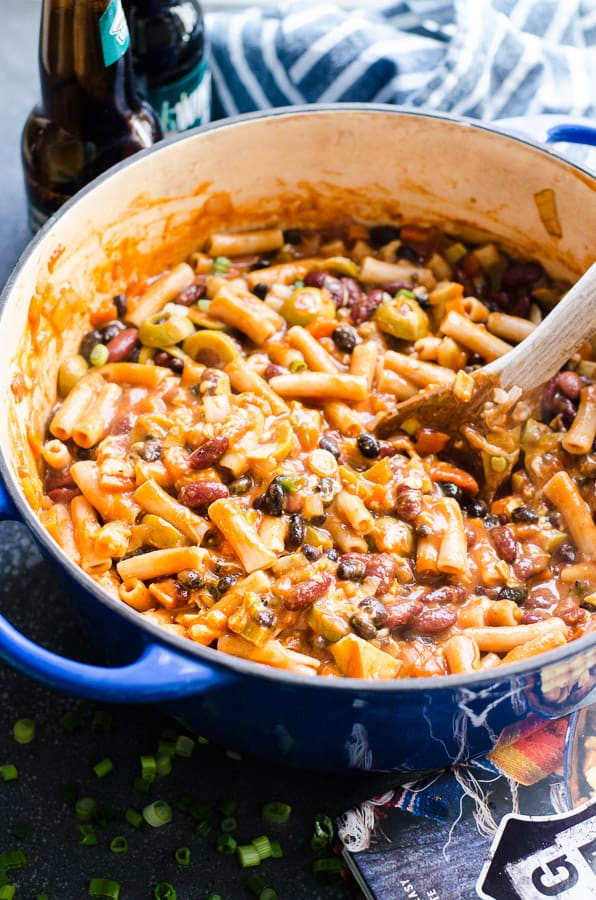 One Pot Chili Mac Recipe from Thug Kitchen 101 cookbook with beer, beans, pasta, olives, spices and cheese or make it vegan, all in 30 minutes. | ifoodreal.com