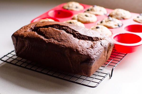Healthy Chocolate Bread Recipe and muffin tray of banana muffins