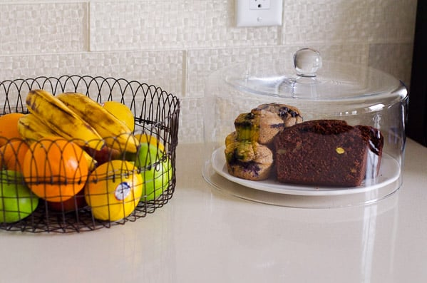 Healthy Chocolate Bread, banana bread and fruit on counter