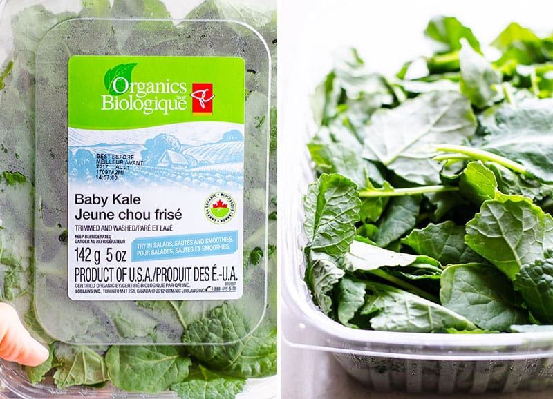 container of baby kale