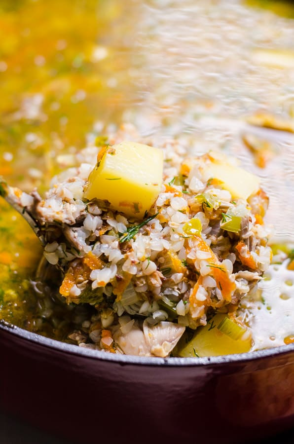 Give Ukrainian Buckwheat Soup Recipe with leftover turkey carcass, vegetables and kasha a chance. Healthy, wholesome and delicious soup that makes enough for leftovers and extra stock to freeze. | ifoodreal.com