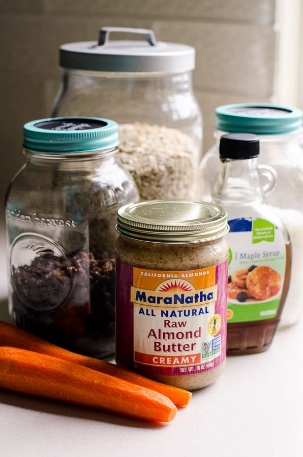 Raw almond butter, carrots, oats, coconut flakes , raisins and maple syrup