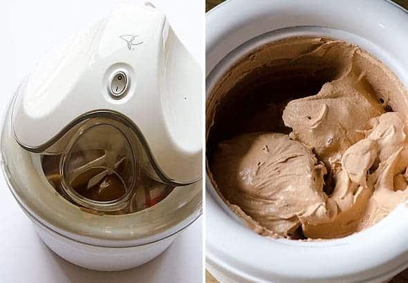 Healthy Chocolate Ice Cream in ice cream machine