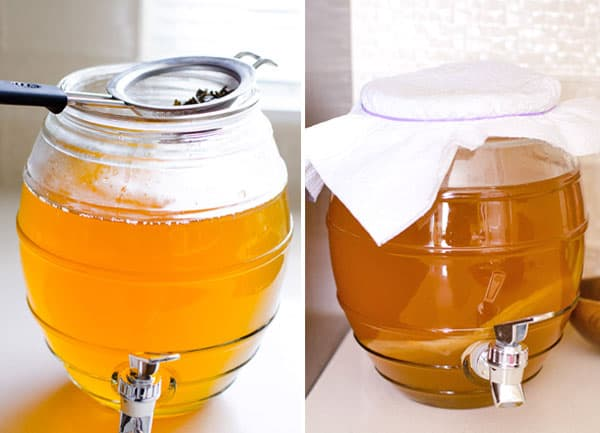 gallon glass jar with kombucha
